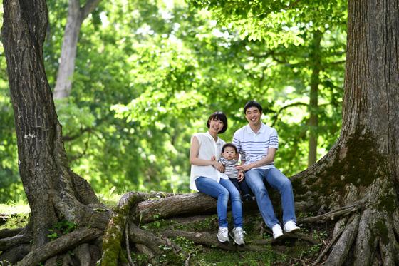 大木に腰をかける家族、神楽岡公園にて