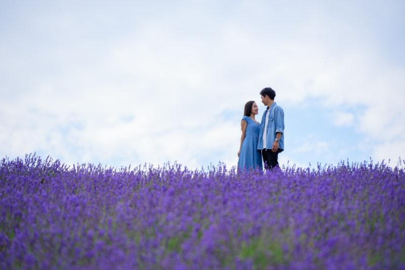 ラベンダー畑で楽しそうに向き合うカップル